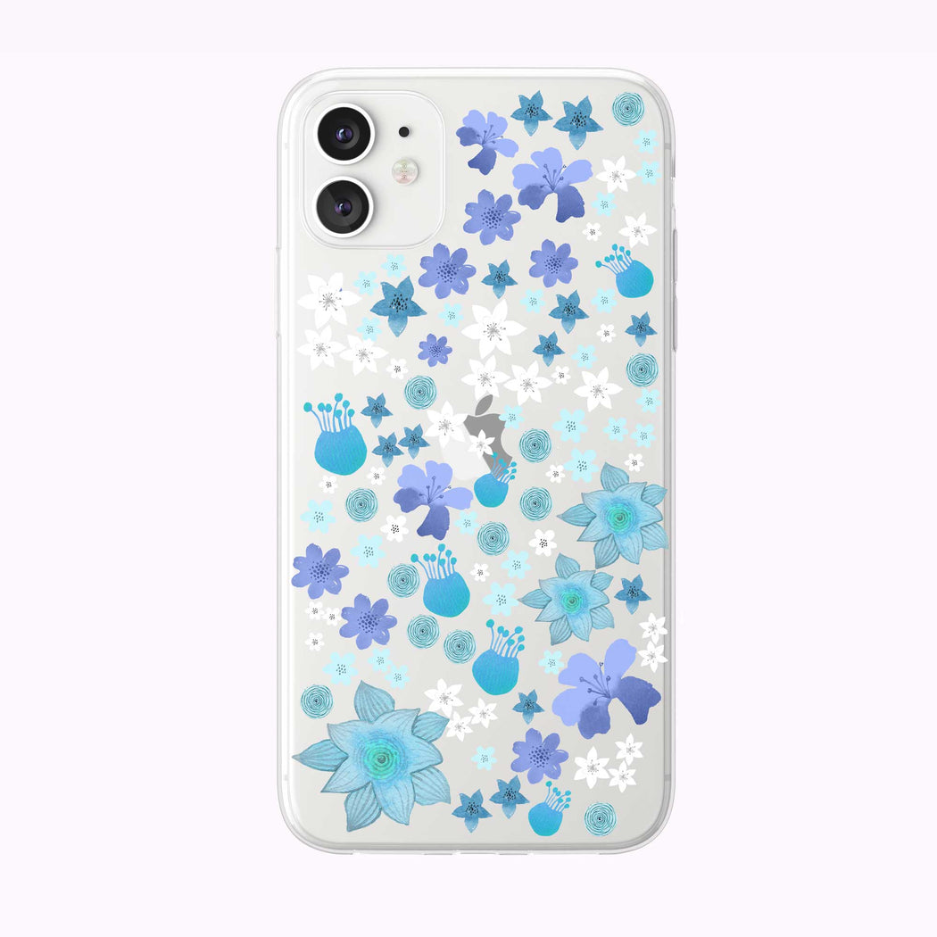 Cute Blue Garden Flowers Clear iPhone Case from Tiny Quail