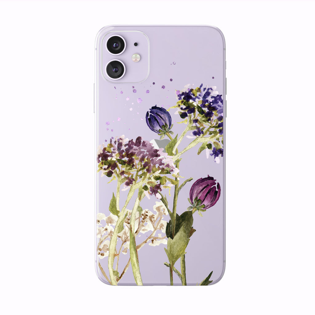 Pretty Fall Flowers on purple iPhone Case from Tiny Quail