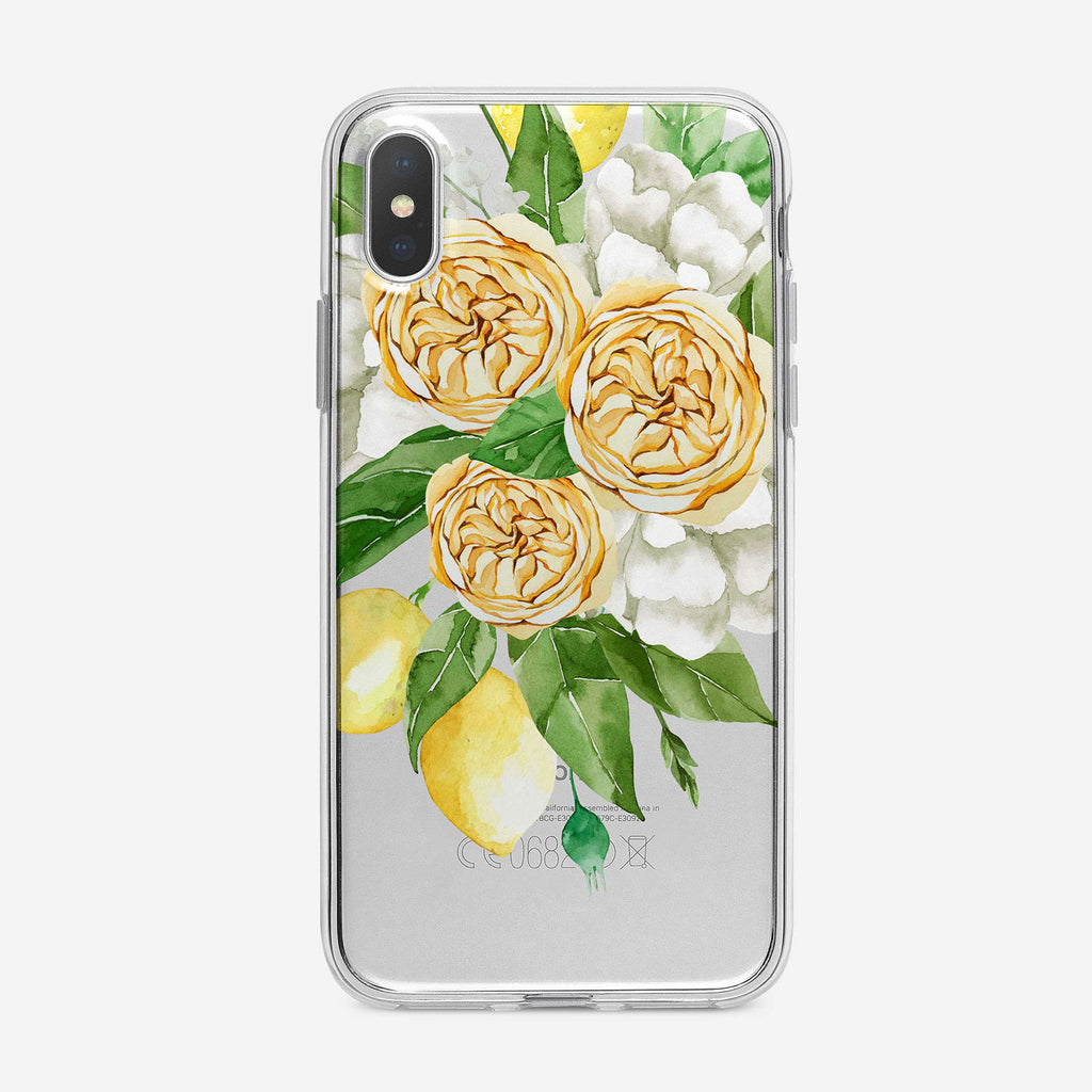 Pretty Floral Lemons iPhone Case by Tiny Quail