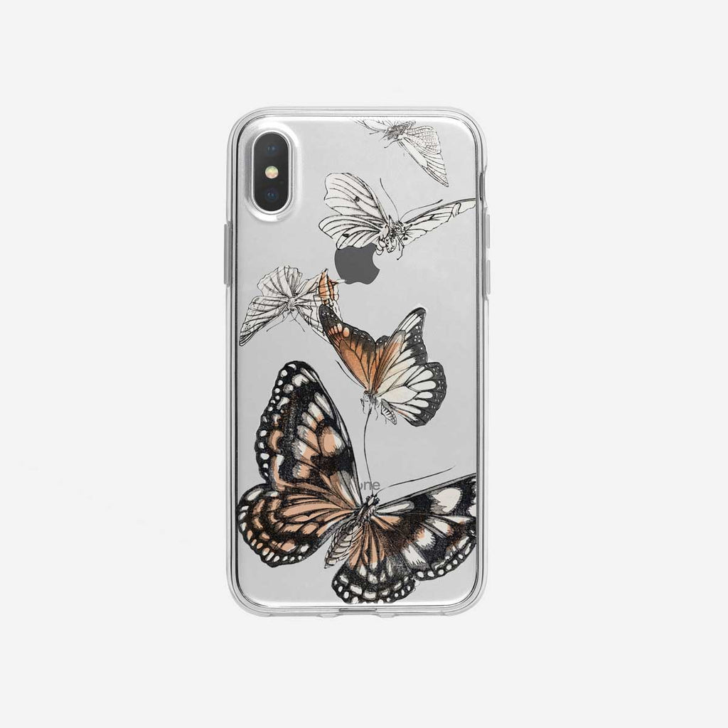 Pretty Vintage Butterflies Clear iPhone Case from Tiny Quail