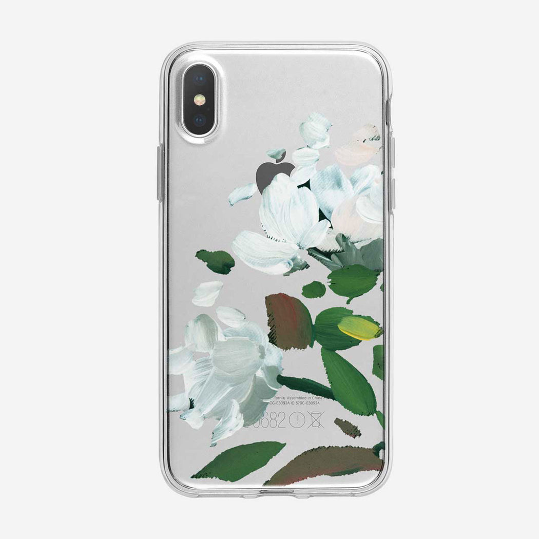 Pretty White Painted Flowers iPhone Case from Tiny Quail