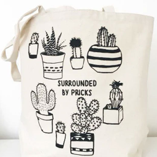Surrounded by Pricks Farmers Market Funny Tote - Tiny Quail
