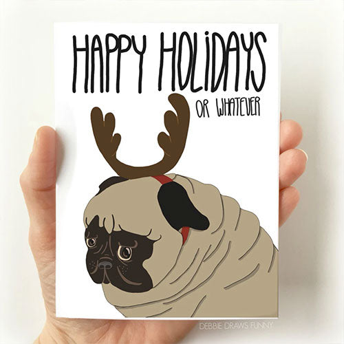 Pug Christmas Card, Pug with antlers, From Debbie Draws Funny