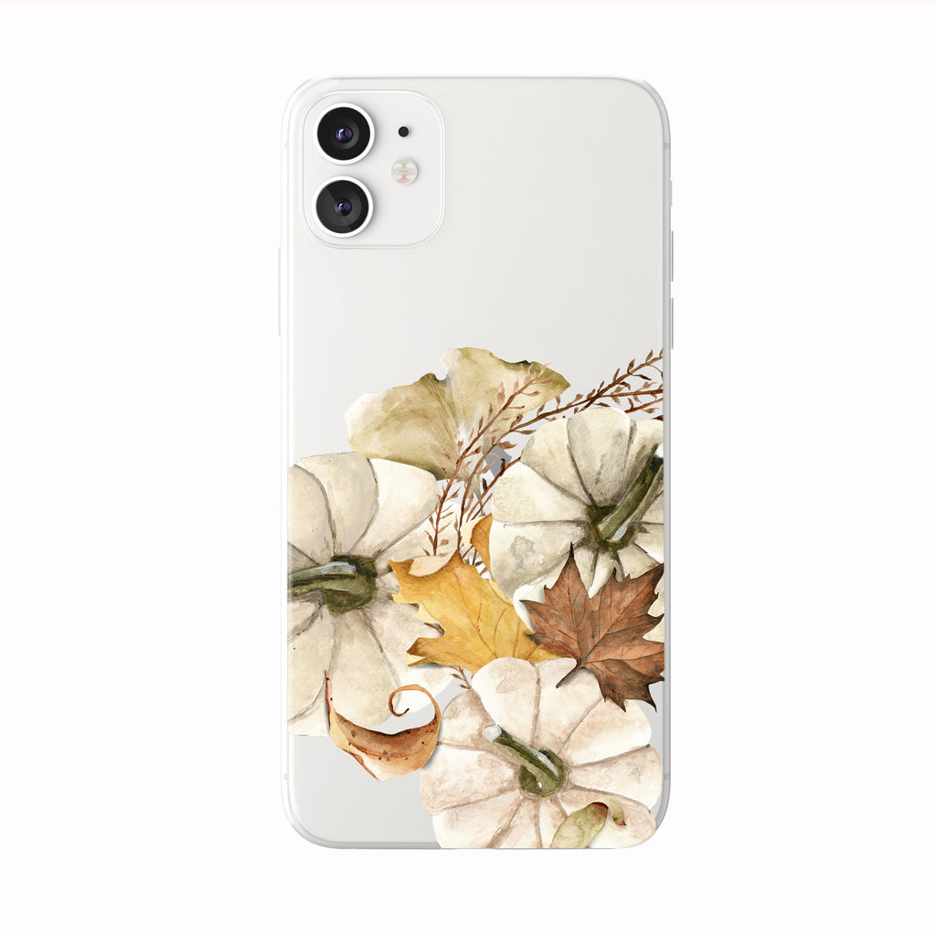 Pumpkins And Fall Leaves on white iPhone Case from Tiny Quail