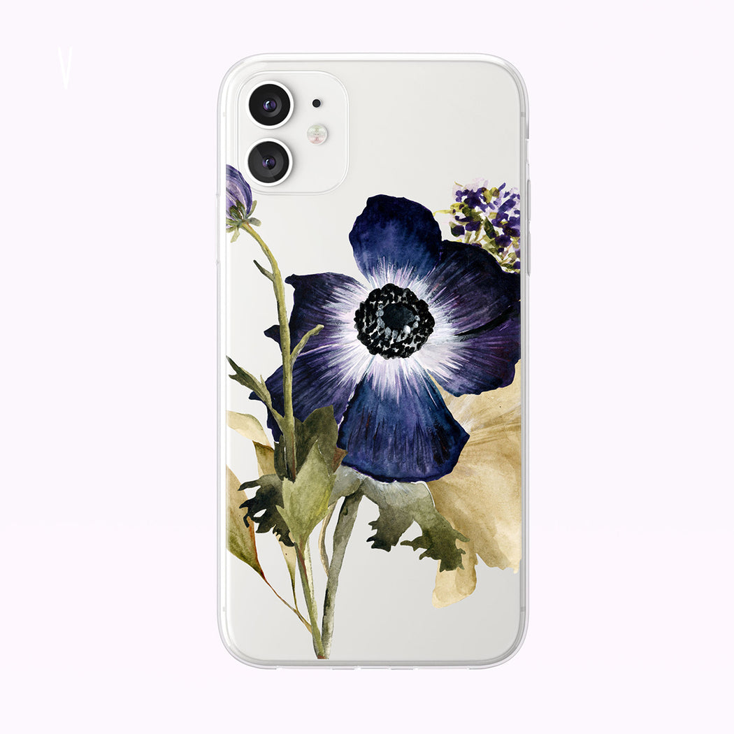 Pretty Purple Summer Anemone Clear iPhone Case from Tiny Quail
