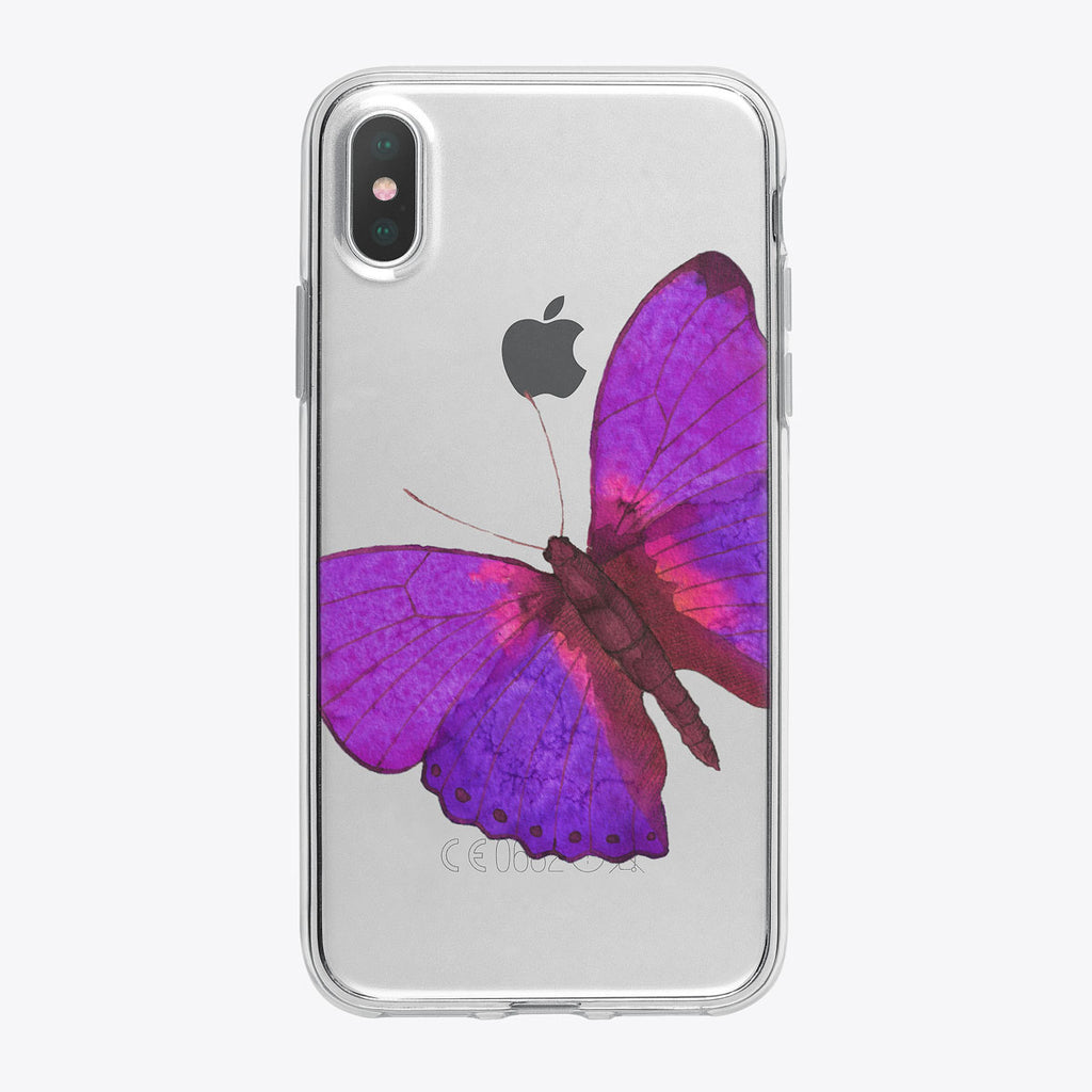 Bright Purple Butterfly iPhone Case by Tiny Quail