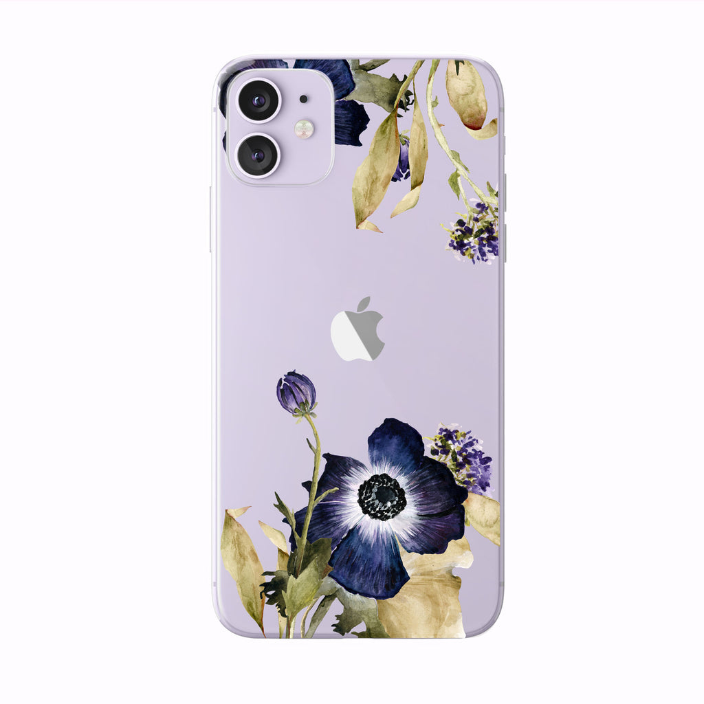 Purple Fall Anemone on purple iPhone Case from Tiny Quail