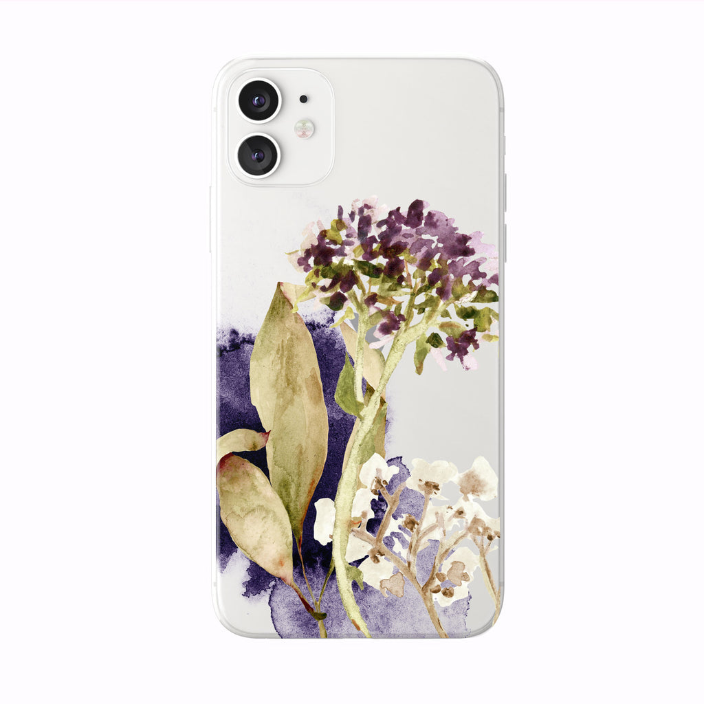 Purple Fall Watercolor Floral on White iPhone Case from Tiny Quail