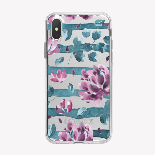 Purple Floral Striped iPhone Case from Tiny Quail