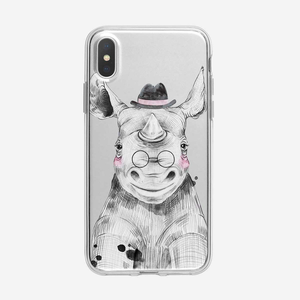 Top Hat Wearing Baby Rhino Clear iPhone Case from Tiny Quail