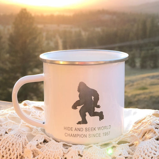 """Bigfoot Hide and Seek"" - Enamel Camping Mug From Festoon Lettering"