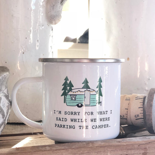 """Sorry for what I said"" Enamel Camping Mug - From Festoon Lettering"
