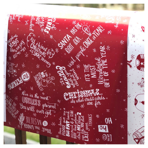 Holiday Gift Wrap Red From Festoon Lettering