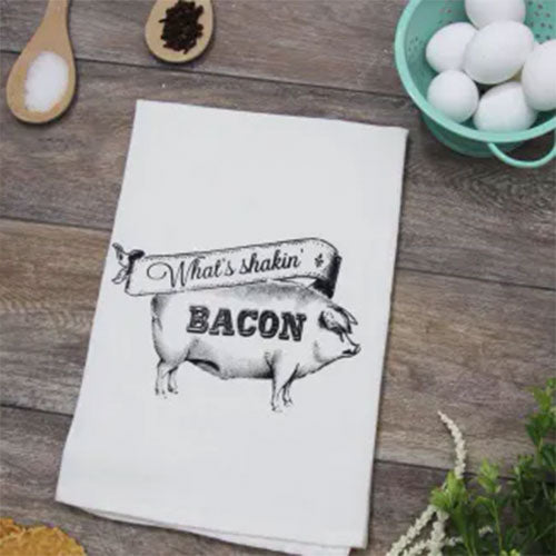 What's Shakin Bacon Funny Kitchen Towel From The Coin Laundry