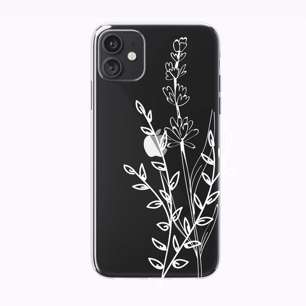Line Art Simple Floral Clear iPhone Case from Tiny Quail