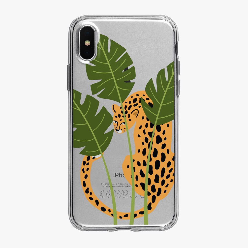 Leopard Sitting in the Jungle Clear iPhone Case from Tiny Quail