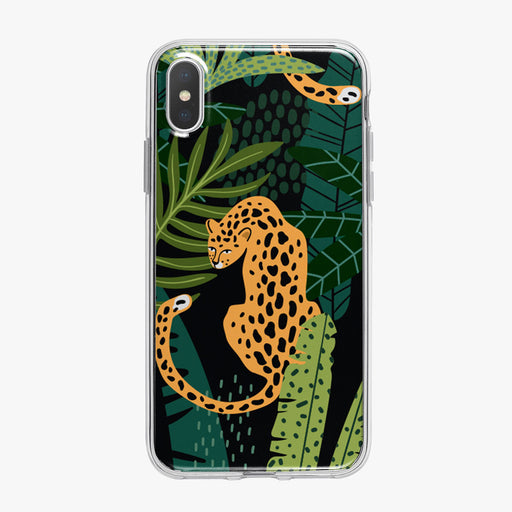 Leopard Sitting in Colorful Jungle iPhone Case from Tiny Quail