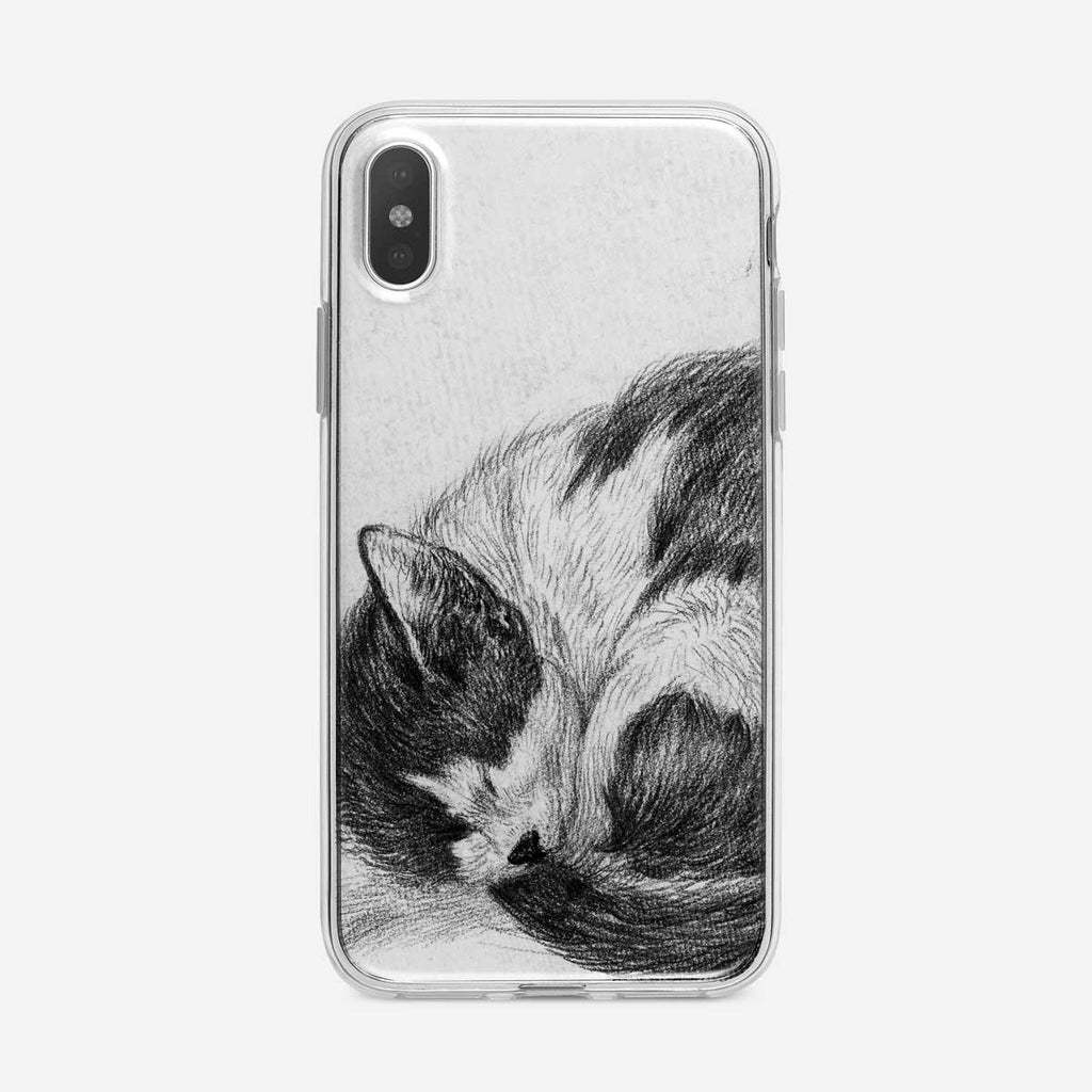 Sleeping Cat Sketch iPhone Case from Tiny Quail