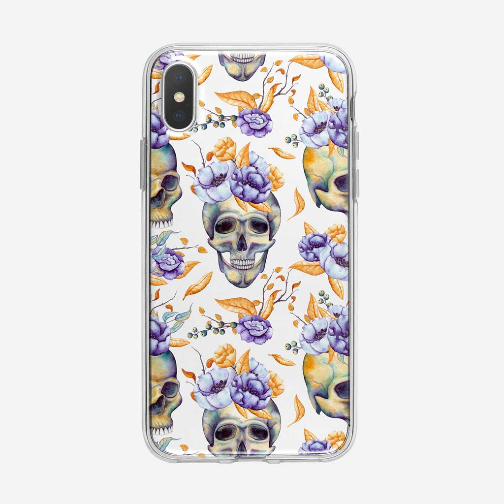 Flower Skull on White Pattern iPhone Case From Tiny Quail