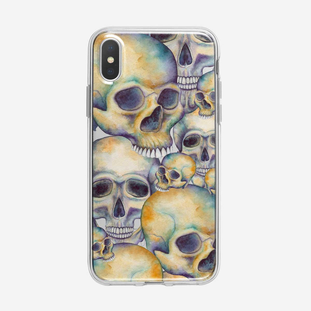 Watercolor Skull Pattern iPhone Case From Tiny Quail