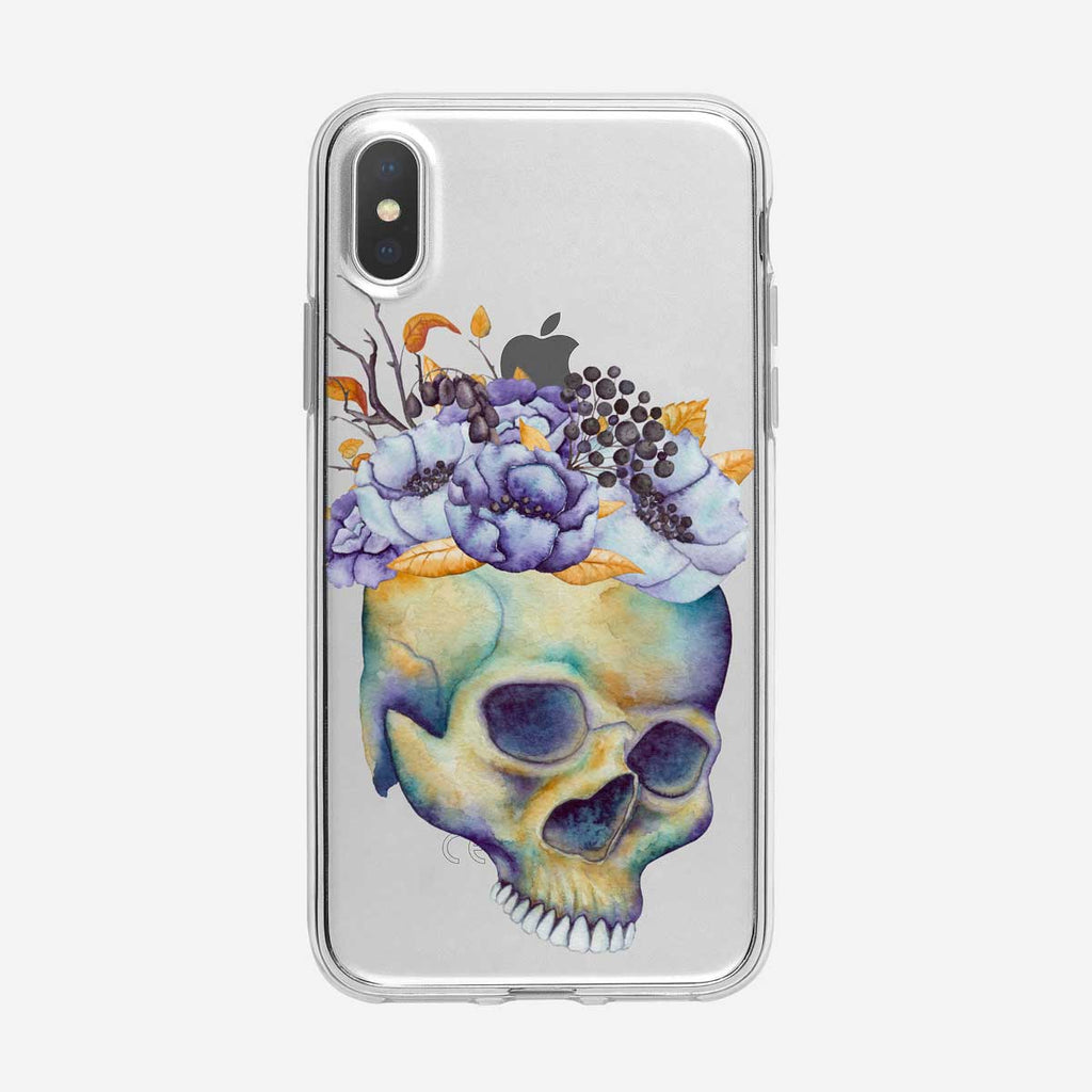 Watercolor Floral and Skull iPhone Case From Tiny Quail