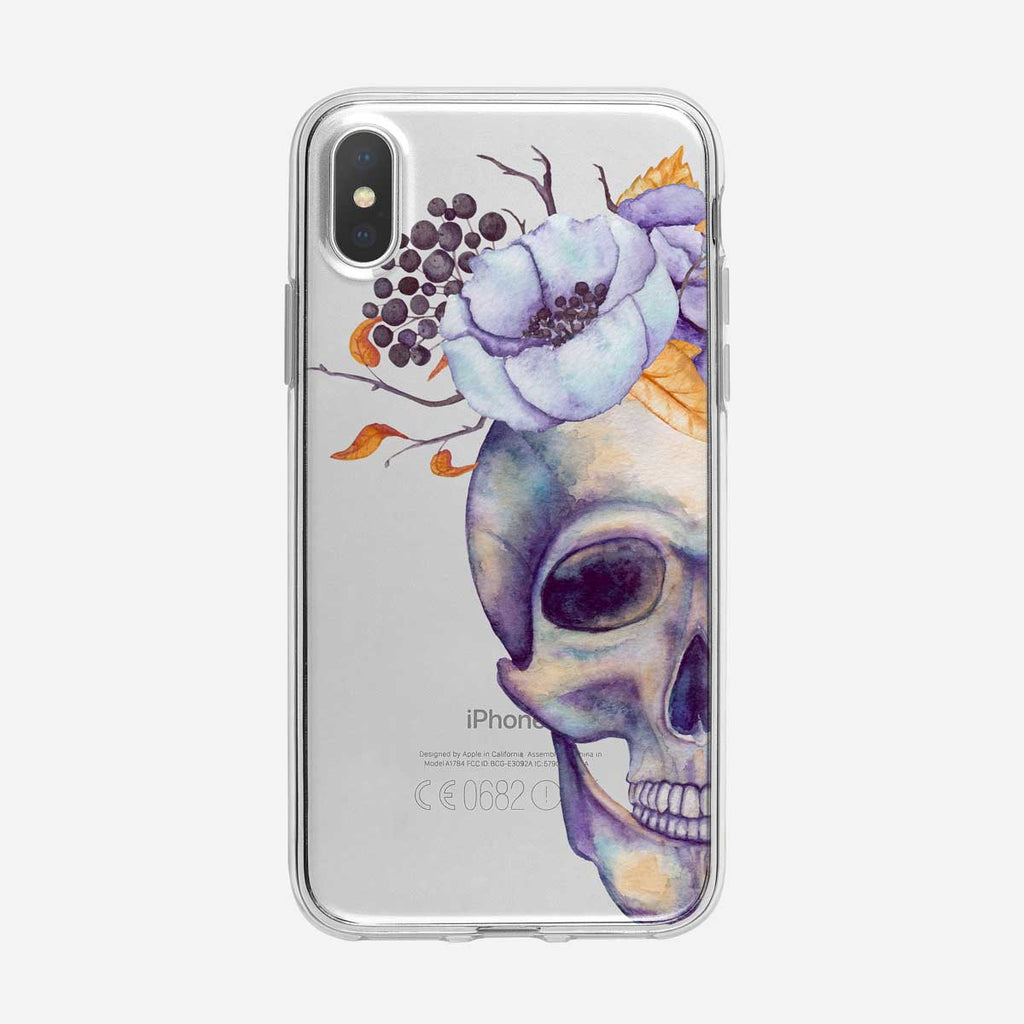 Watercolor Floral and Half Skull iPhone Case From Tiny Quail