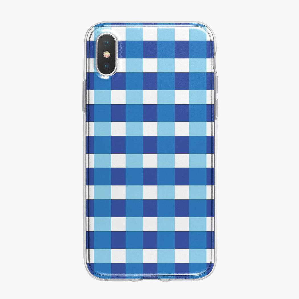 Blue and White Checkered Designer iPhone Case from Tiny Quail