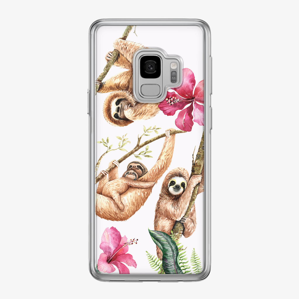 Cute Watercolor Sloth Family Samsung Galaxy Phone Case by Tiny Quail