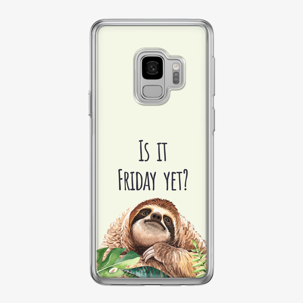Green Is It Friday Sloth Samsung Galaxy Phone Case by Tiny Quail