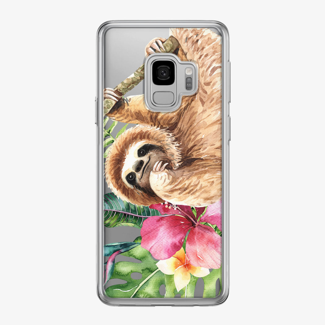 Cute Watercolor Sloth Samsung Galaxy Phone Case by Tiny Quail