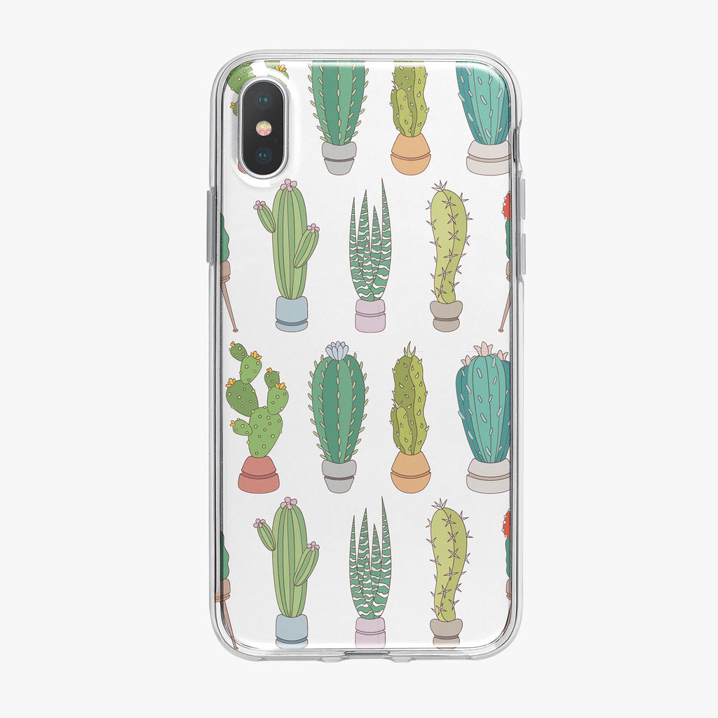 Colorful Small Cactus Pattern iPhone Case by Tiny Quail