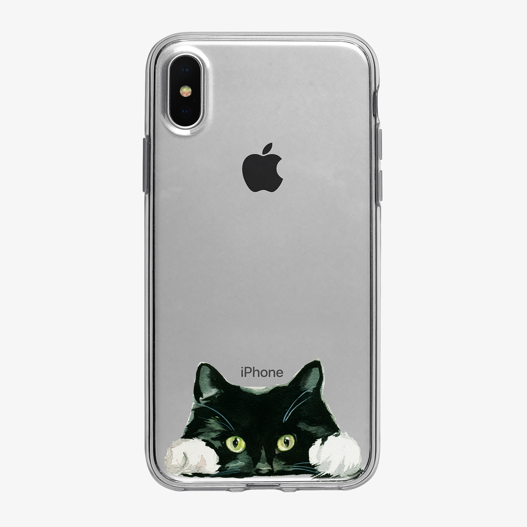 Sneaky Peeking Cat Clear iPhone Case from Tiny Quail