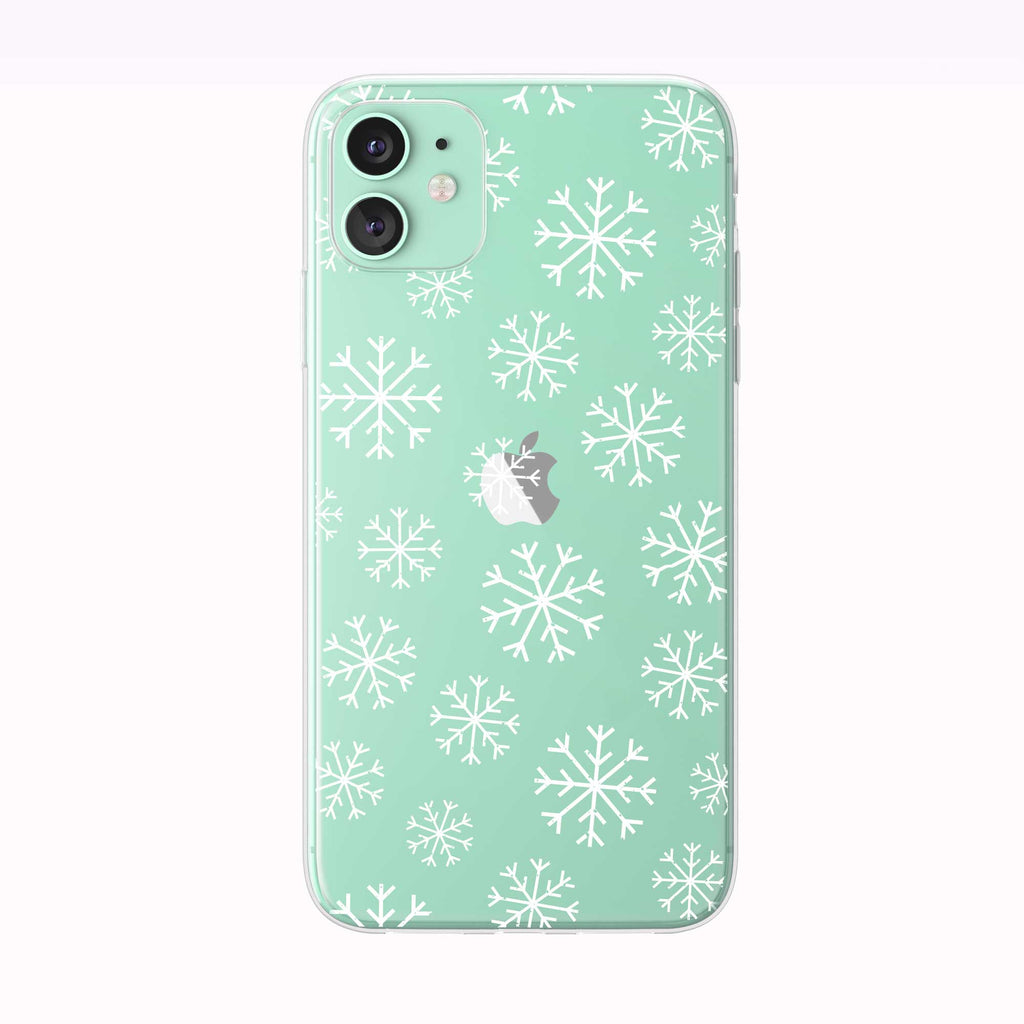 Winter Snowflakes Pattern green iPhone Case from Tiny Quail