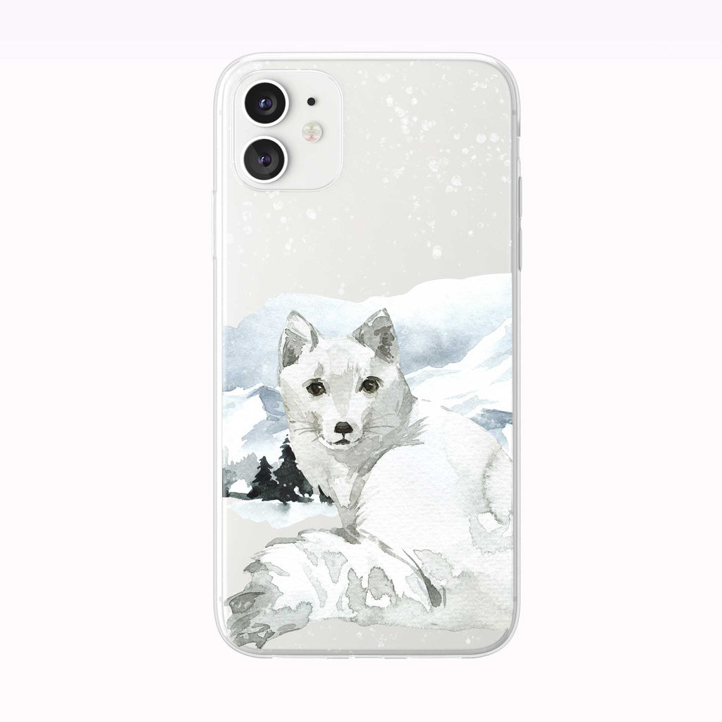 Mountain Snow Fox white iPhone Case from Tiny Quail