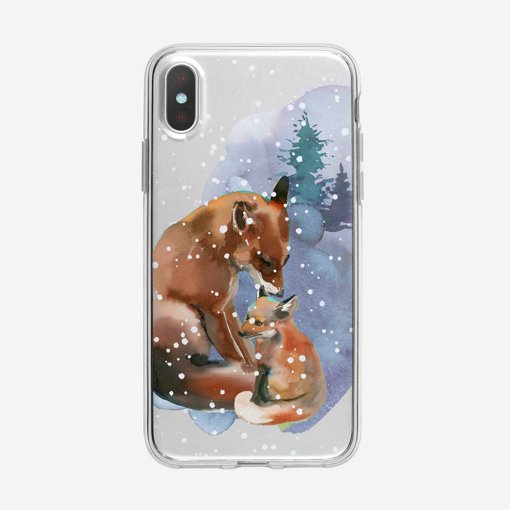Snowy Foxes iPhone Case from Tiny Quail
