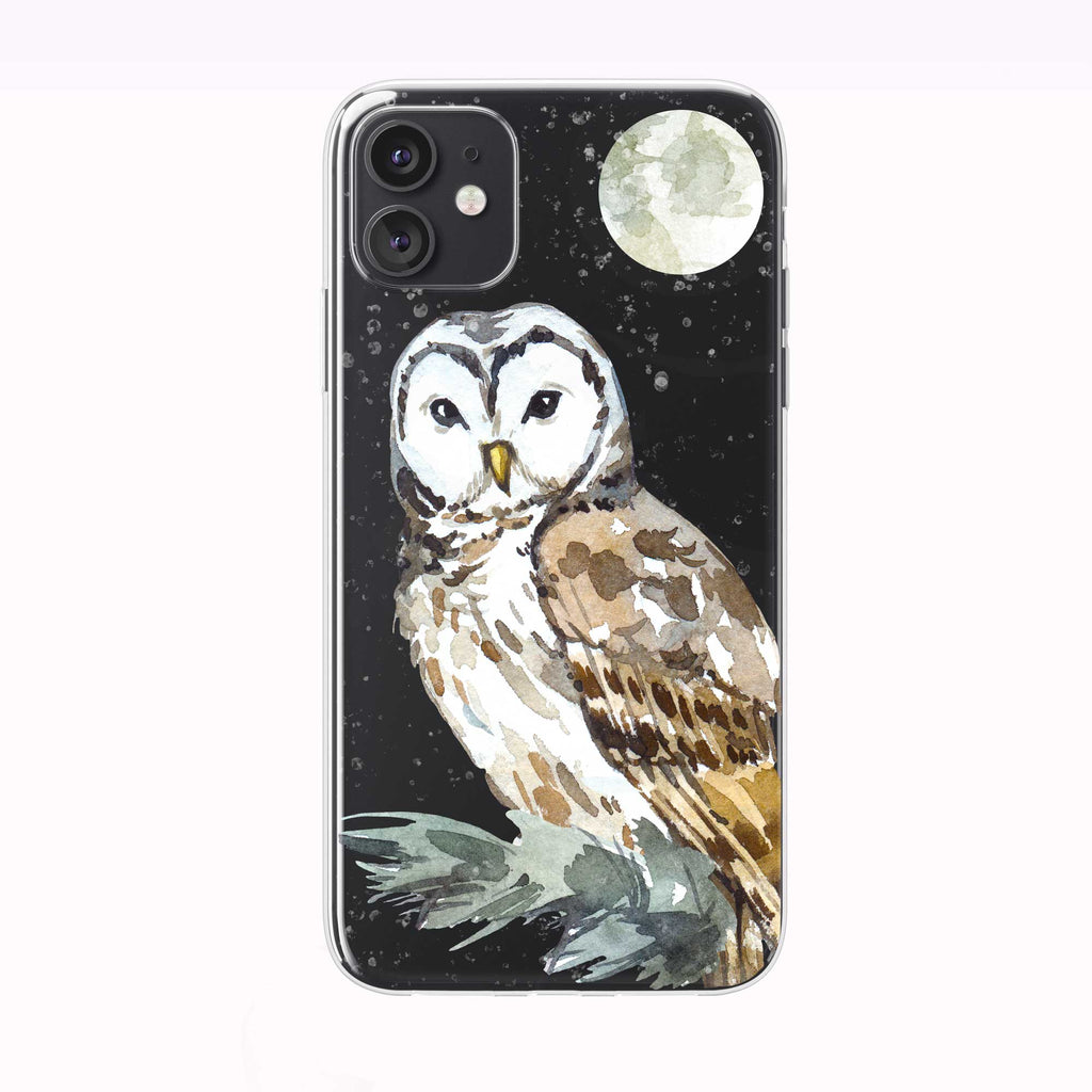 Snowing Moon Owl black iPhone Case from Tiny Quail