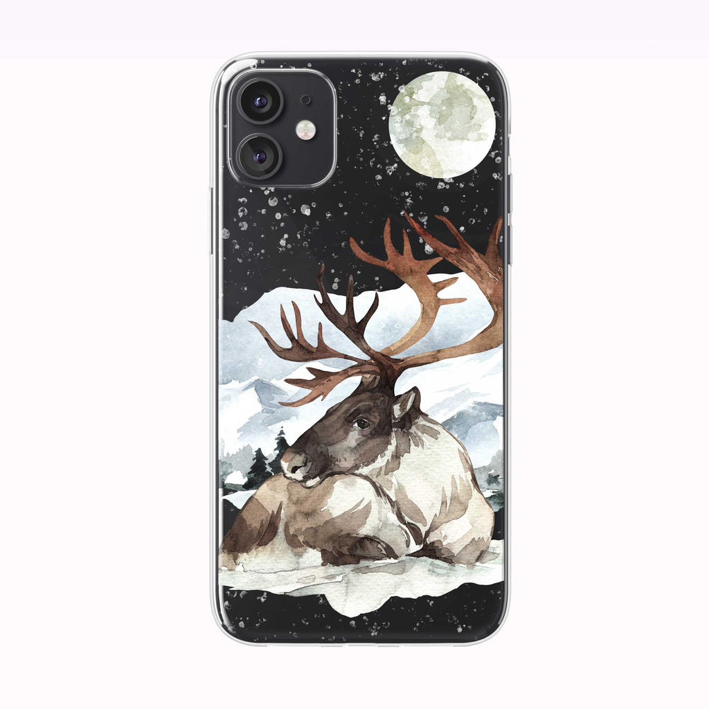 Snowing Winter Moon Reindeer black iPhone Case from Tiny Quail