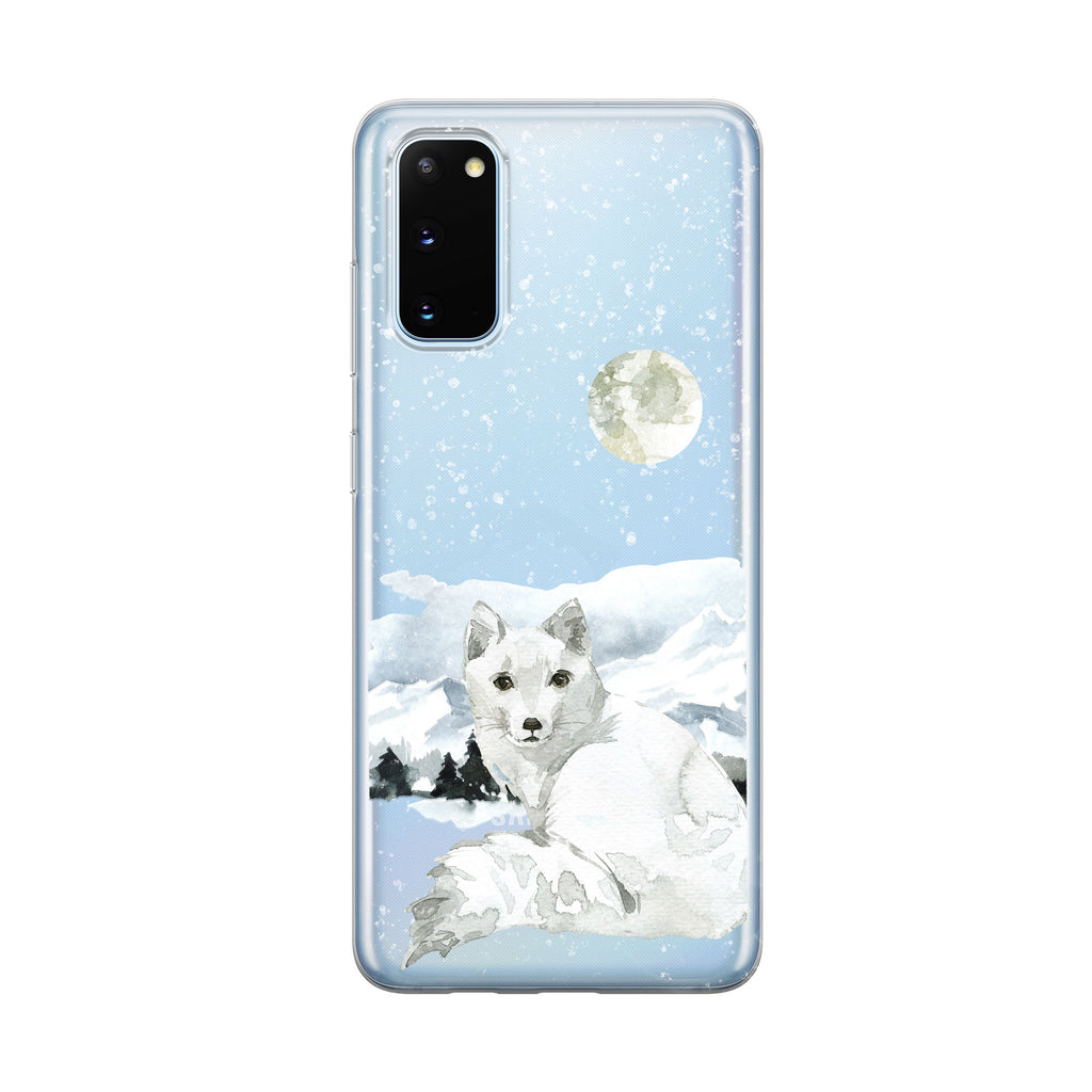 Snowy Mountain Moon Fox Samsung Galaxy Phone Case From Tiny Quail