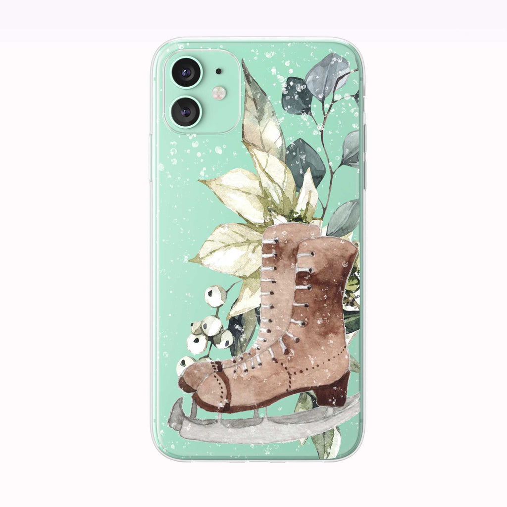Snowing Winter Bouquet Skates green iPhone Case from Tiny Quail
