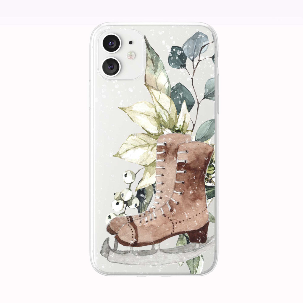 Snowing Winter Bouquet Skates white iPhone Case from Tiny Quail