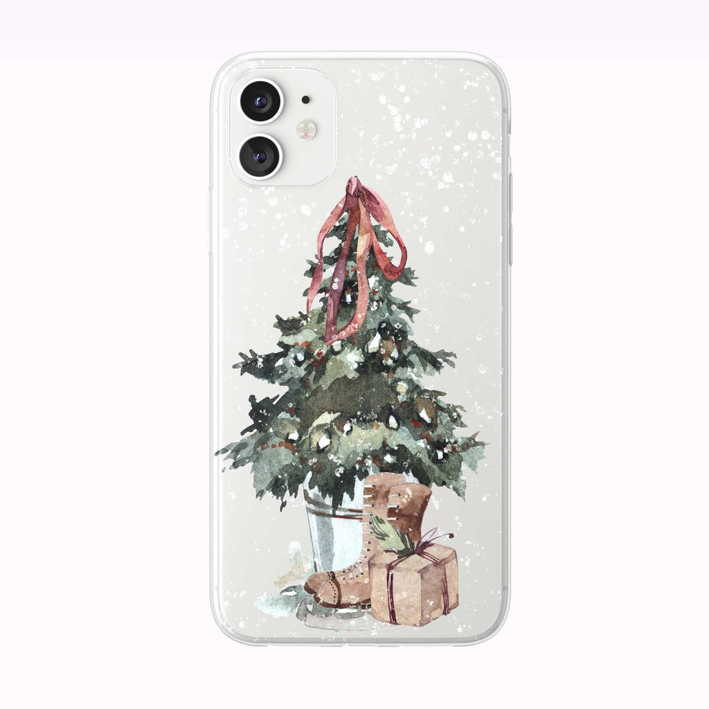 Snowing Christmas Tree Skates iPhone Case from Tiny Quail