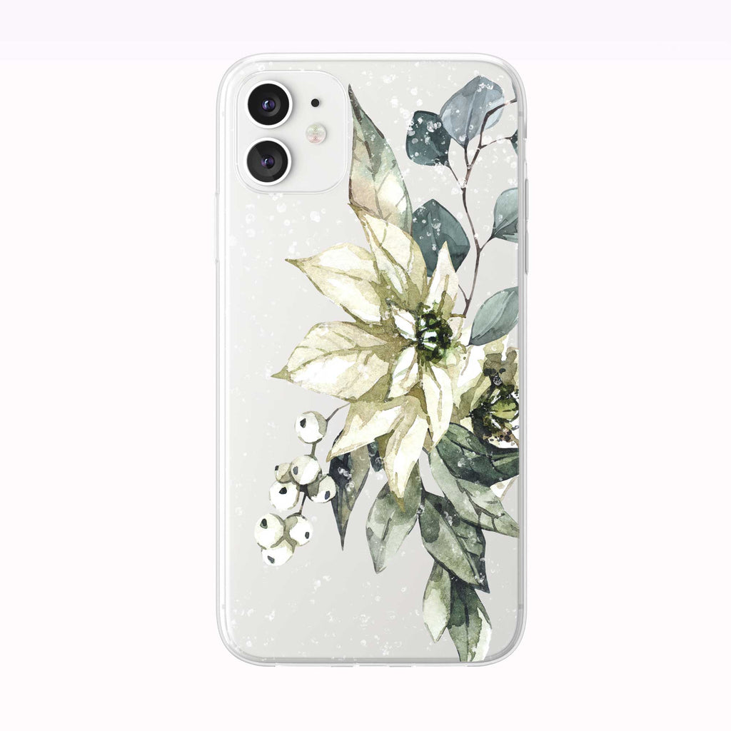 Snowing White Winter Bouquet white iPhone Case from Tiny Quail