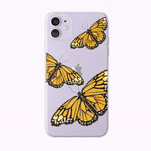 Yellow and Orange Watercolor Butterfly Trio iPhone Case by Tiny Quail