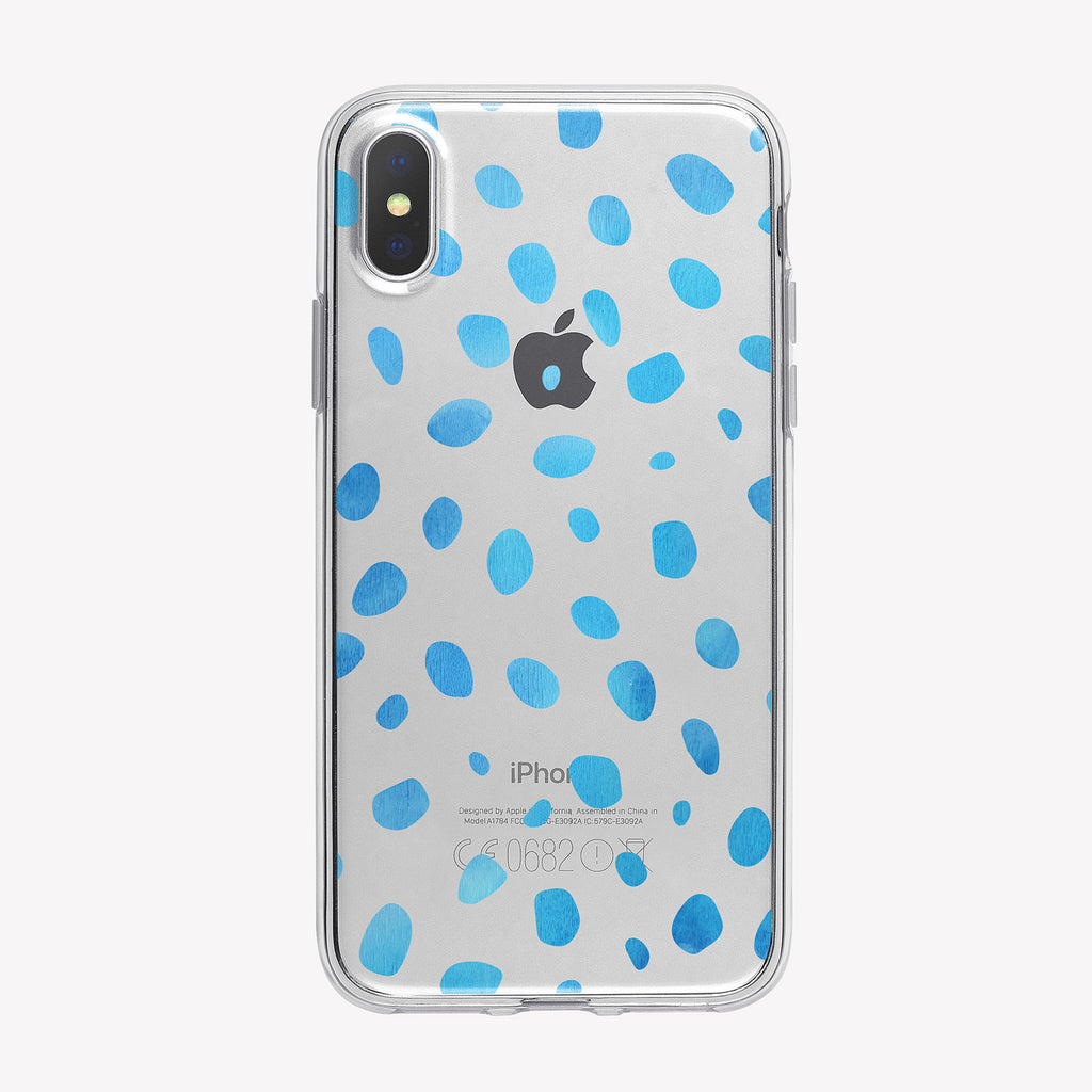Blue Spots Clear iPhone Case from Tiny Quail