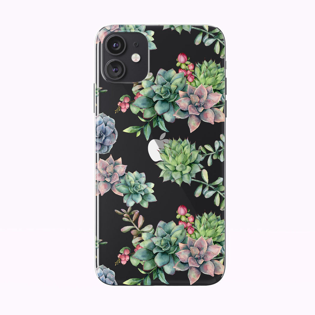 Pretty Watercolor Colorful Succulents Clear iPhone Case from Tiny Quail shown on a black iPhone 11