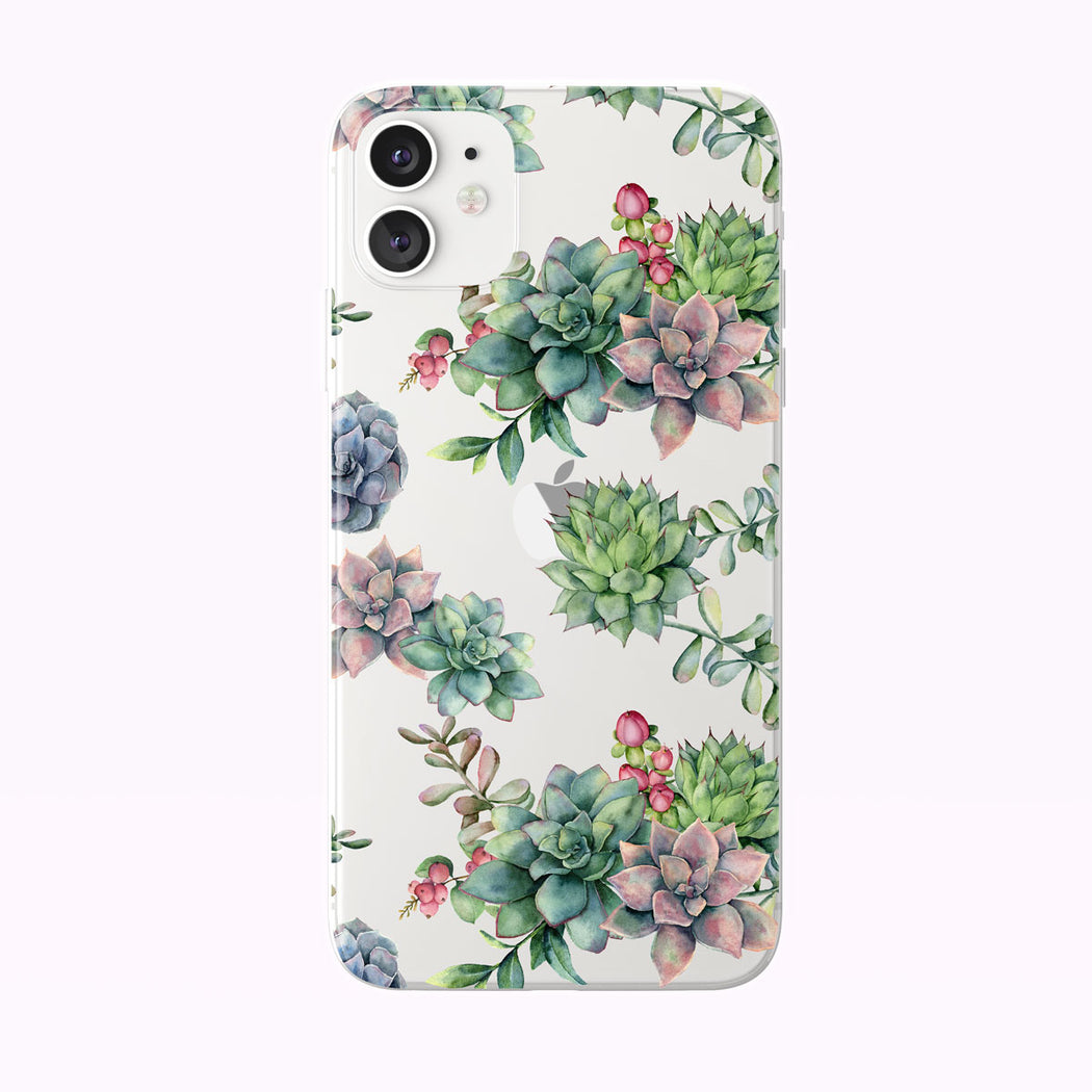Pretty Watercolor Colorful Succulents Clear iPhone Case from Tiny Quail shown on a white iPhone 11