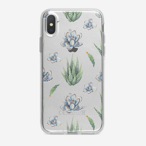 Succulents Pattern Clear iPhone Case from Tiny Quail