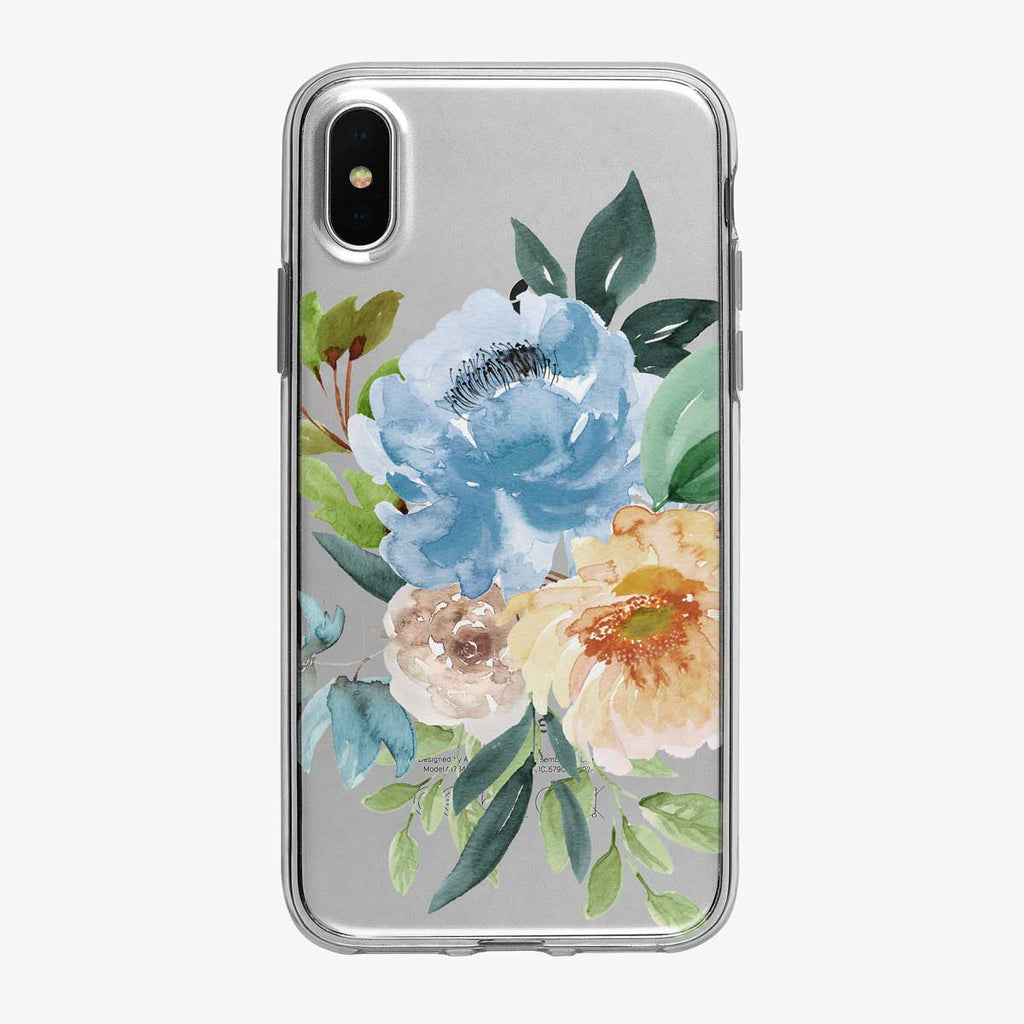 Summer Blue Floral Bouquet Clear iPhone Case from Tiny Quail