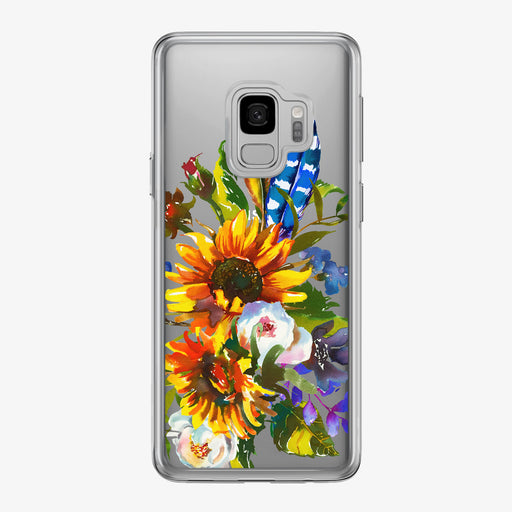 Sunflower Boho Bouquet Clear Samsung Galaxy Phone Case from Tiny Quail