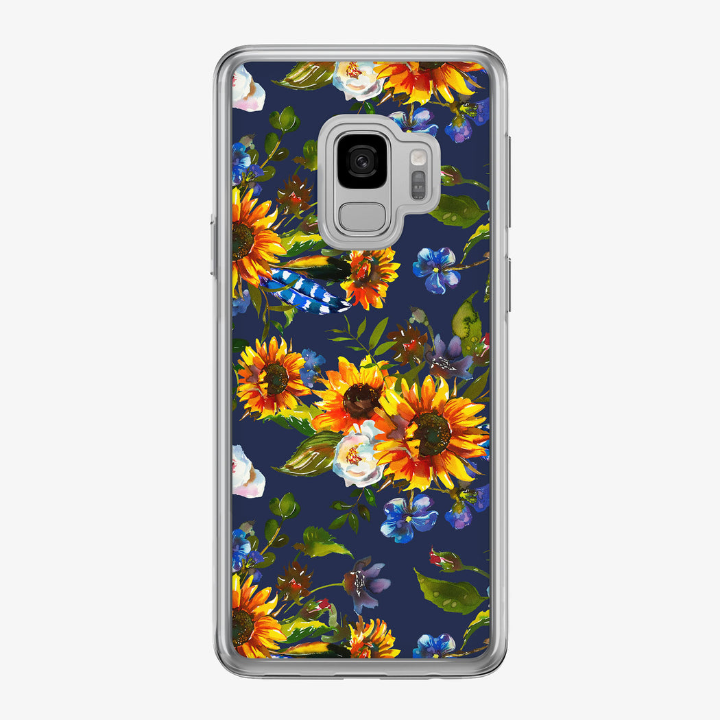 Sunflower Boho Pattern on Blue Samsung Galaxy Phone Case from Tiny Quail